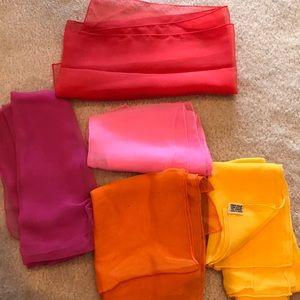 Lot of 5 silk scarves scarfs REPURPOSE